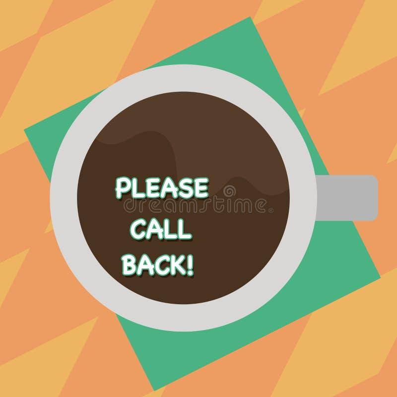 Σημάδι κειμένων που παρουσιάζει παρακαλώ πλάτη κλήσης Εννοιολογική πρόσκληση φωτογραφιών για να επιστρέψει για τη δεύτερη τοπ άπο απεικόνιση αποθεμάτων