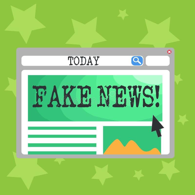 Σημάδι κειμένων που παρουσιάζει πλαστές ειδήσεις Εννοιολογικές ψεύτικες ιστορίες φωτογραφιών που εμφανίζονται να διαδίδουν στο δι διανυσματική απεικόνιση