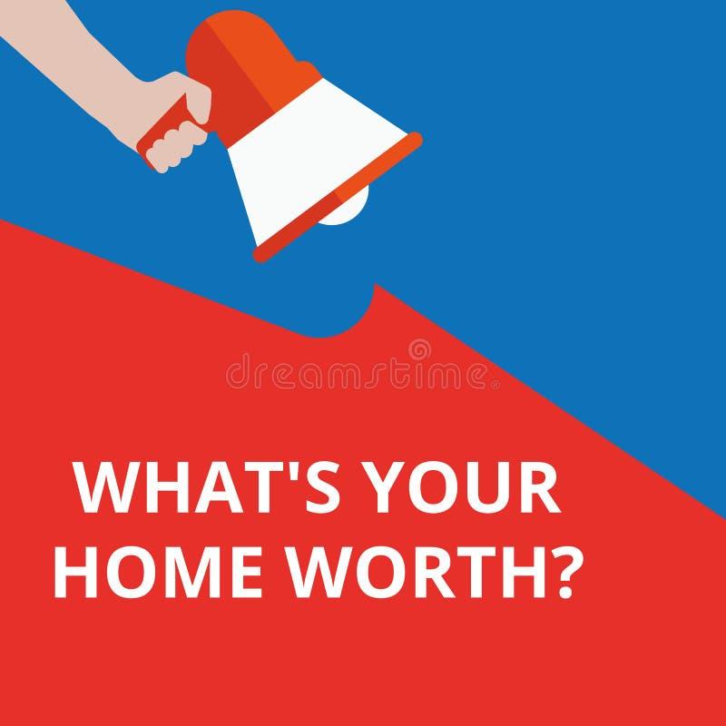 Σημάδι κειμένων που παρουσιάζει ποιο s είναι το σπίτι σας αξίας της ερώτησης ελεύθερη απεικόνιση δικαιώματος