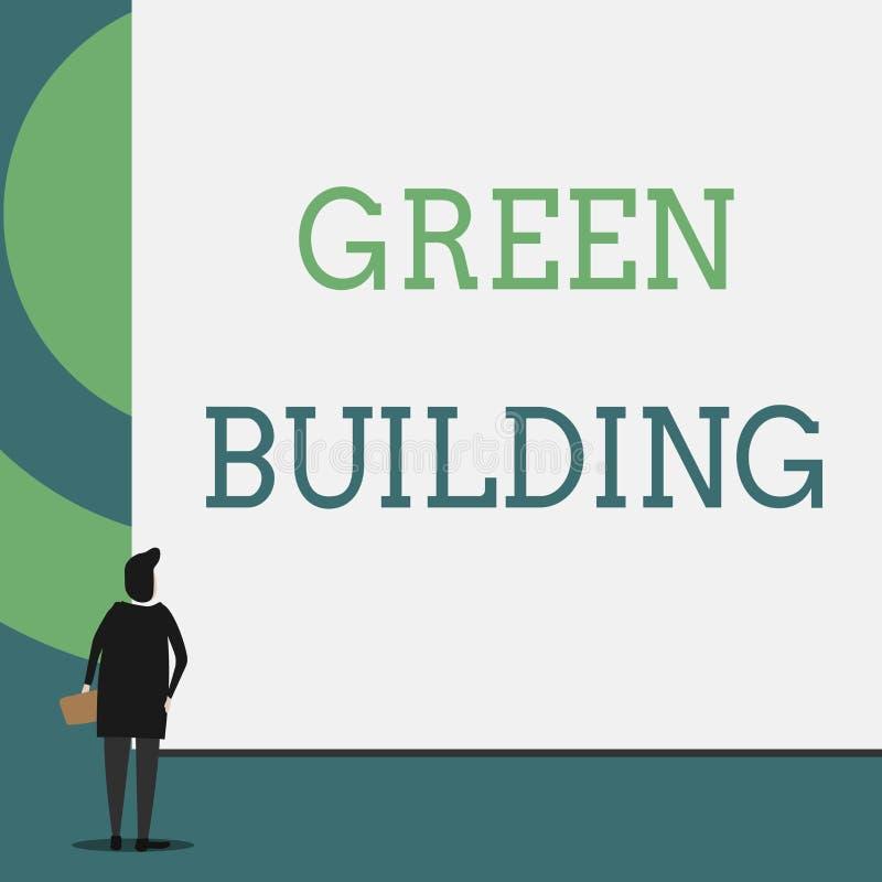 Σημάδι κειμένων που παρουσιάζει πράσινο κτήριο Εννοιολογική δομή φωτογραφιών Α που είναι περιβαλλοντικά αρμόδια βιώσιμη πίσω άποψ διανυσματική απεικόνιση