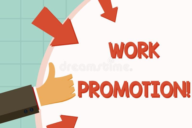 Σημάδι κειμένων που παρουσιάζει προώθηση εργασίας Εννοιολογική πρόοδος φωτογραφιών ενός υπαλλήλου μέσα σε ένα χέρι Gesturing θέση ελεύθερη απεικόνιση δικαιώματος