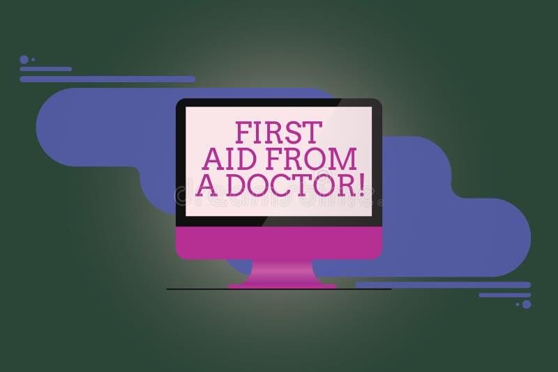 Σημάδι κειμένων που παρουσιάζει πρώτες βοήθειες από έναν γιατρό Εννοιολογική υποστήριξη εξετάσεων υγειονομικής περίθαλψης βοήθεια απεικόνιση αποθεμάτων