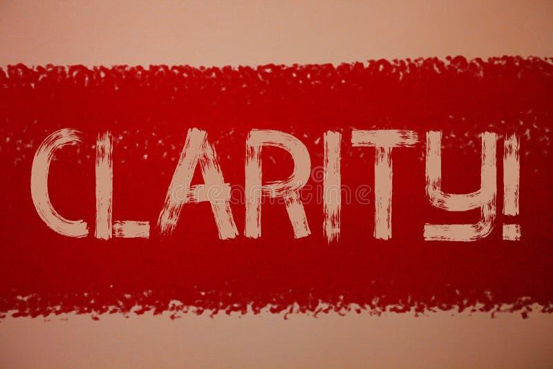 Σημάδι κειμένων που παρουσιάζει σαφήνεια Εννοιολογικό κόκκινο μηνυμάτων ιδεών ακρίβειας διαφάνειας δυνατότητας κατανόησης αγνότητ στοκ εικόνα