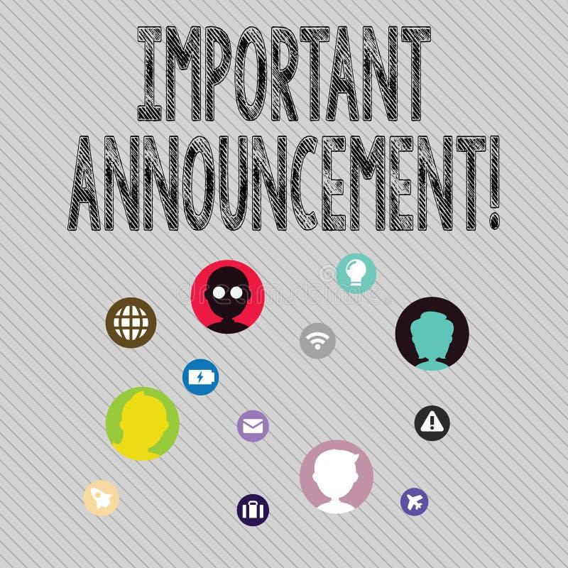 Σημάδι κειμένων που παρουσιάζει σημαντική ανακοίνωση Εννοιολογική προφορική φωτογραφία δήλωση που λέει την παρουσίαση για κάτι απεικόνιση αποθεμάτων