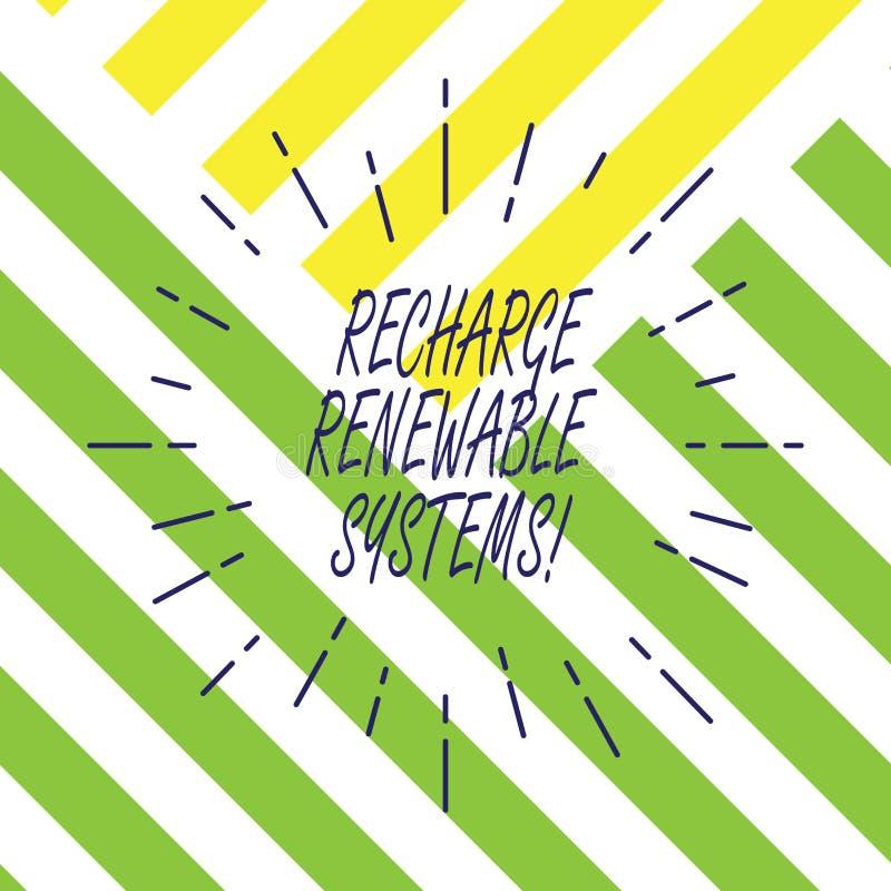 Σημάδι κειμένων που παρουσιάζει στην επαναφόρτιση ανανεώσιμα συστήματα Εννοιολογική καθαρή και βιώσιμη ενέργεια φωτογραφιών και μ ελεύθερη απεικόνιση δικαιώματος