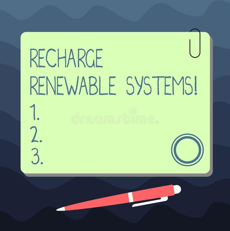 Σημάδι κειμένων που παρουσιάζει στην επαναφόρτιση ανανεώσιμα συστήματα Εννοιολογική καθαρή και βιώσιμη ενέργεια φωτογραφιών και μ διανυσματική απεικόνιση