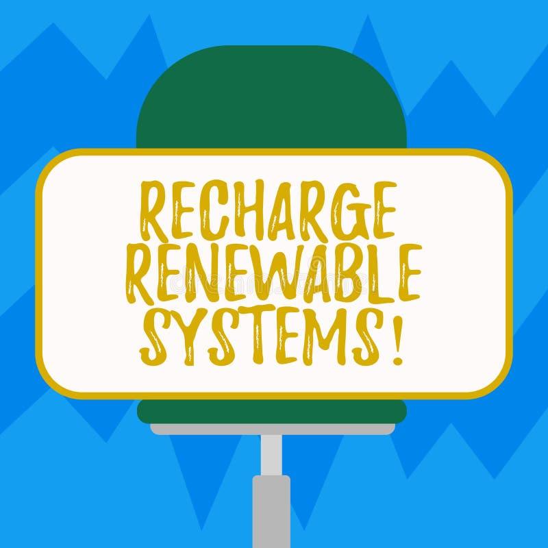 Σημάδι κειμένων που παρουσιάζει στην επαναφόρτιση ανανεώσιμα συστήματα Εννοιολογική καθαρή και βιώσιμη ενέργεια φωτογραφιών και μ απεικόνιση αποθεμάτων