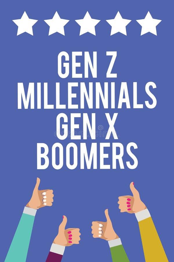 Σημάδι κειμένων που παρουσιάζει στο GEN Ζ Millennials GEN Χ ραγδαία αναπτυσσομένους Εννοιολογικό φωτογραφιών Generational thum χε απεικόνιση αποθεμάτων
