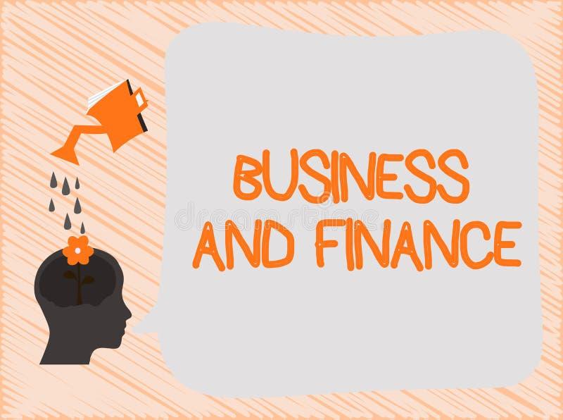 Σημάδι κειμένων που παρουσιάζει την επιχείρηση και χρηματοδότηση Εννοιολογική διαχείριση φωτογραφιών των χρημάτων προτερημάτων κα απεικόνιση αποθεμάτων
