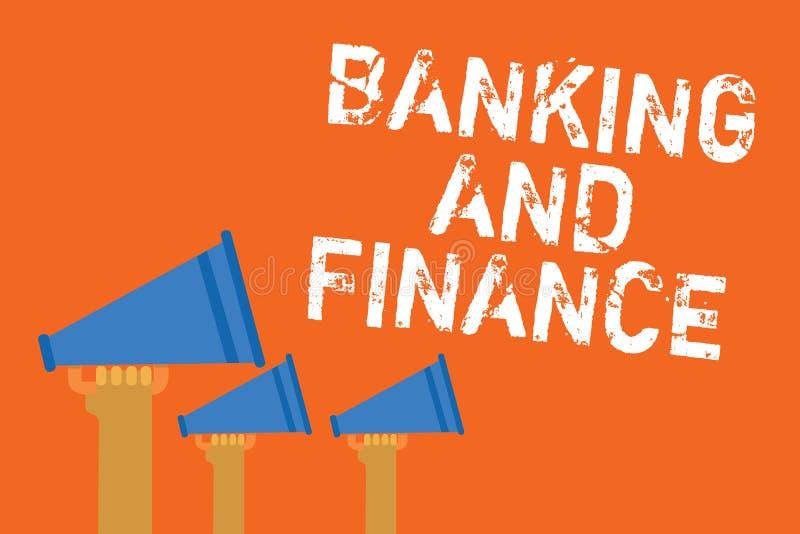 Σημάδι κειμένων που παρουσιάζει τις τραπεζικές εργασίες και χρηματοδότηση Εννοιολογικό messa ομιλητών ανακοίνωσης ενδιαφερόντων λ διανυσματική απεικόνιση