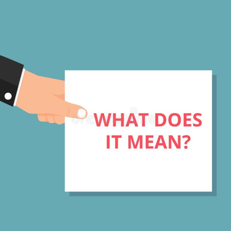 Σημάδι κειμένων που παρουσιάζει τι σημαίνει αυτό ερώτηση απεικόνιση αποθεμάτων