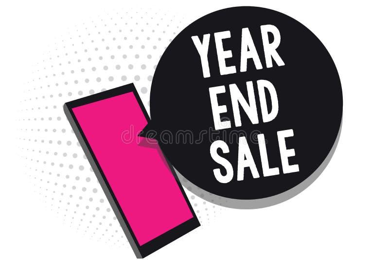 Σημάδι κειμένων που παρουσιάζει το έτος και πώληση Εννοιολογικό φωτογραφιών ετήσιο εκπτώσεων διακοπών περιόδου τηλέφωνο κυττάρων  διανυσματική απεικόνιση