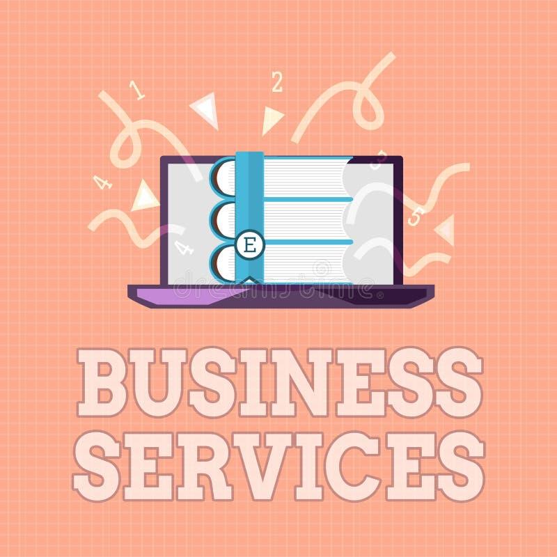 Σημάδι κειμένων που παρουσιάζει υπηρεσίες επιχείρησης Η εννοιολογική φωτογραφία παρέχει την άυλη λογιστική ΤΠ λογιστικής προϊόντω απεικόνιση αποθεμάτων
