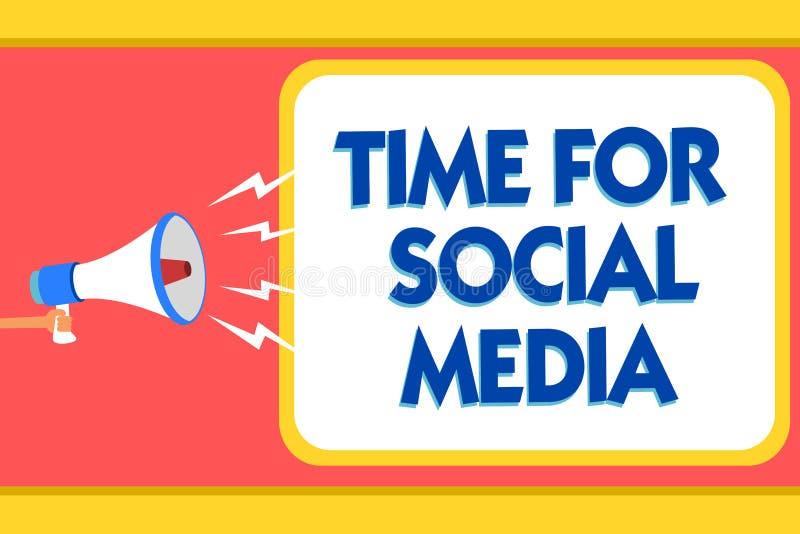 Σημάδι κειμένων που παρουσιάζει χρόνο για τα κοινωνικά μέσα Εννοιολογική φωτογραφία που συναντά τους νέους φίλους που συζητούν το διανυσματική απεικόνιση