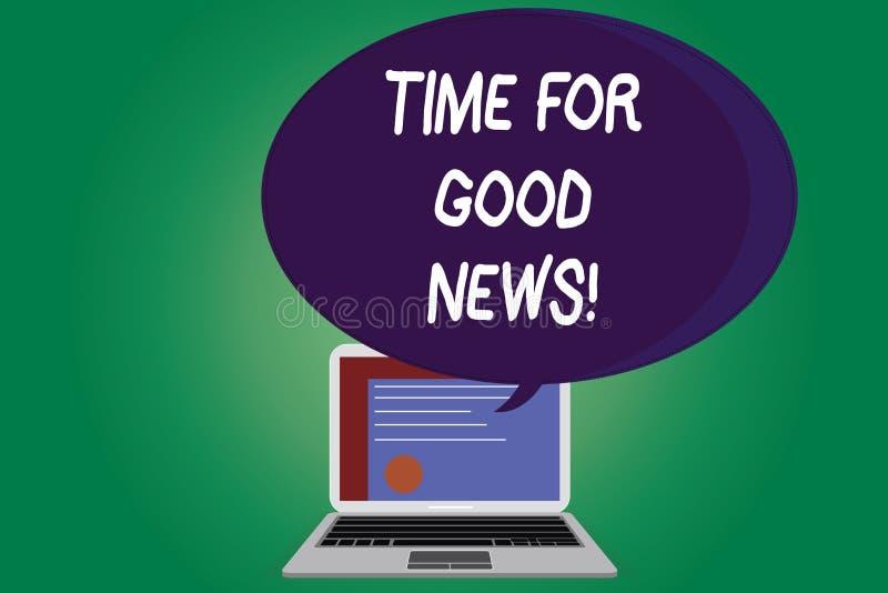 Σημάδι κειμένων που παρουσιάζει χρόνο για τις καλές ειδήσεις Εννοιολογική επικοινωνία φωτογραφιών του μεγάλου ευτυχούς ειδικού χρ απεικόνιση αποθεμάτων