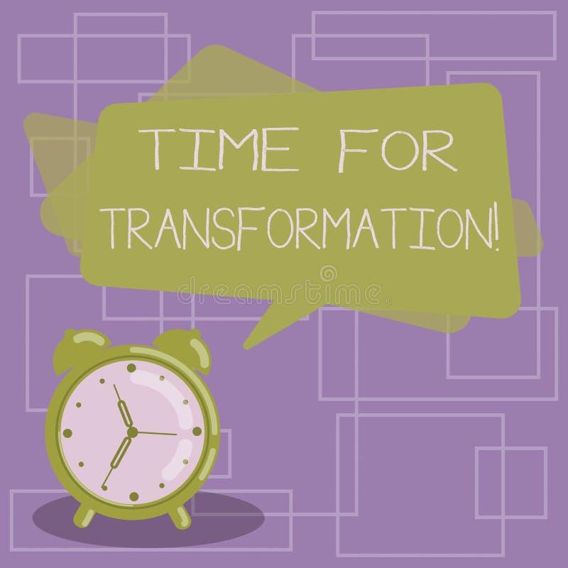 Σημάδι κειμένων που παρουσιάζει χρόνο για το μετασχηματισμό Εννοιολογική φάση φωτογραφιών για τη δραματική αλλαγή στο κενό μορφής ελεύθερη απεικόνιση δικαιώματος