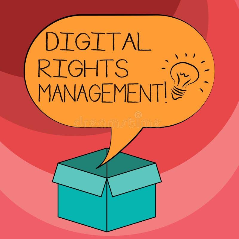 Σημάδι κειμένων που παρουσιάζει ψηφιακή διαχείριση δικαιωμάτων Εννοιολογική προσέγγιση φωτογραφιών στην προστασία πνευματικών δικ διανυσματική απεικόνιση