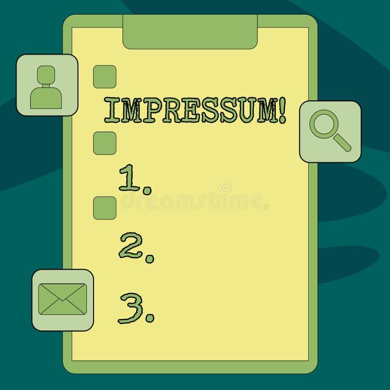 Σημάδι κειμένων που παρουσιάζει Impressum Η εννοιολογική φωτογραφία εντυπωσίασε το χαραγμένο συγγραφικό επάγγελμα ιδιοκτησίας δήλ απεικόνιση αποθεμάτων