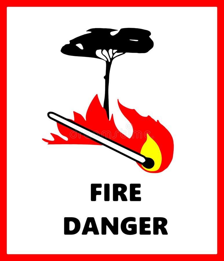 Σημάδι κινδύνου δασικής πυρκαγιάς με τα σύμβολα του δέντρου, της αντιστοιχίας και των φλογών απεικόνιση αποθεμάτων
