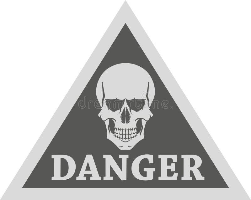 σημάδι κινδύνου Το κρανίο και το κείμενο απεικονίζονται στο σημάδι απεικόνιση αποθεμάτων