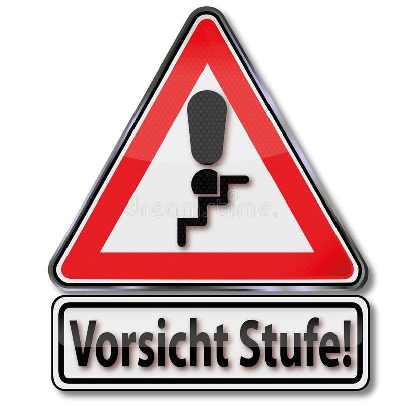 Σημάδι κλήσης και επίπεδο προσοχής με την προειδοποίηση να σκοντάψει του κινδύνου στα σκαλοπάτια ελεύθερη απεικόνιση δικαιώματος