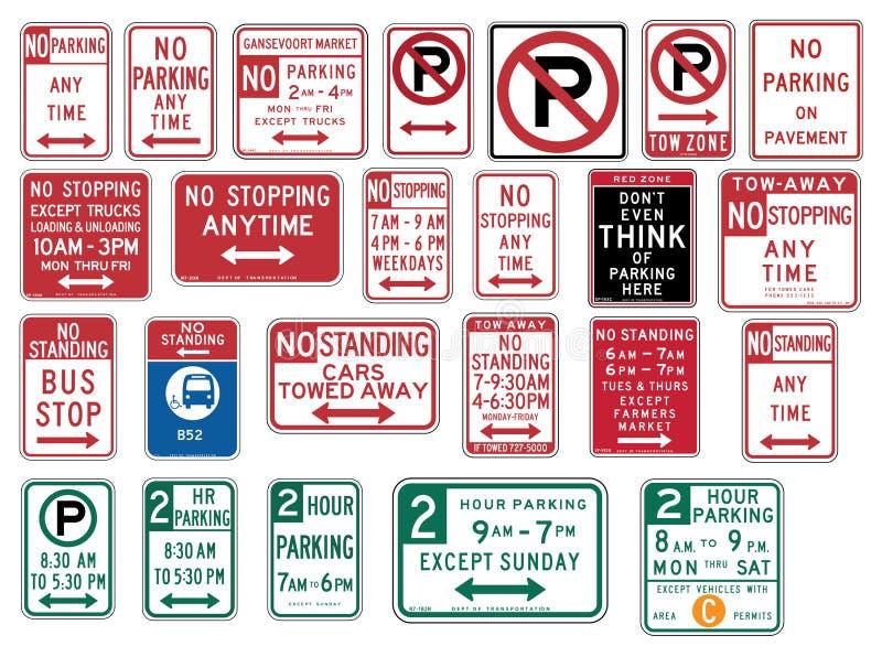Σημάδι κυκλοφορίας στις Ηνωμένες Πολιτείες - κανένας χώρος στάθμευσης διανυσματική απεικόνιση