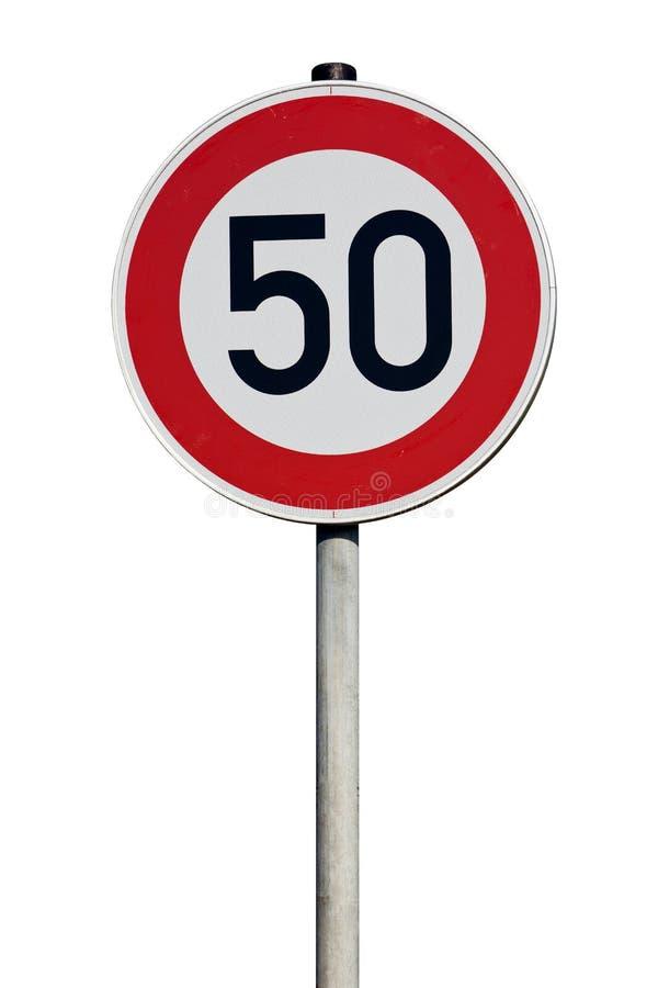 Σημάδι κυκλοφορίας 50 χιλιόμετρα ανά ώρα που απομονώνονται στοκ εικόνες