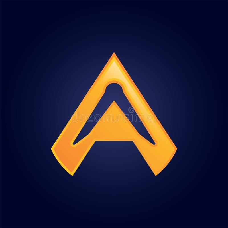 Σημάδι λογότυπων γραμμάτων Α, τρισδιάστατο υλικό σχέδιο, διάνυσμα απεικόνιση αποθεμάτων