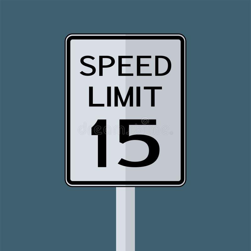 Σημάδι μεταφορών ΑΜΕΡΙΚΑΝΙΚΗΣ οδικής κυκλοφορίας: Όριο ταχύτητας 15 στο γκρίζο υπόβαθρο ουρανού r διανυσματική απεικόνιση