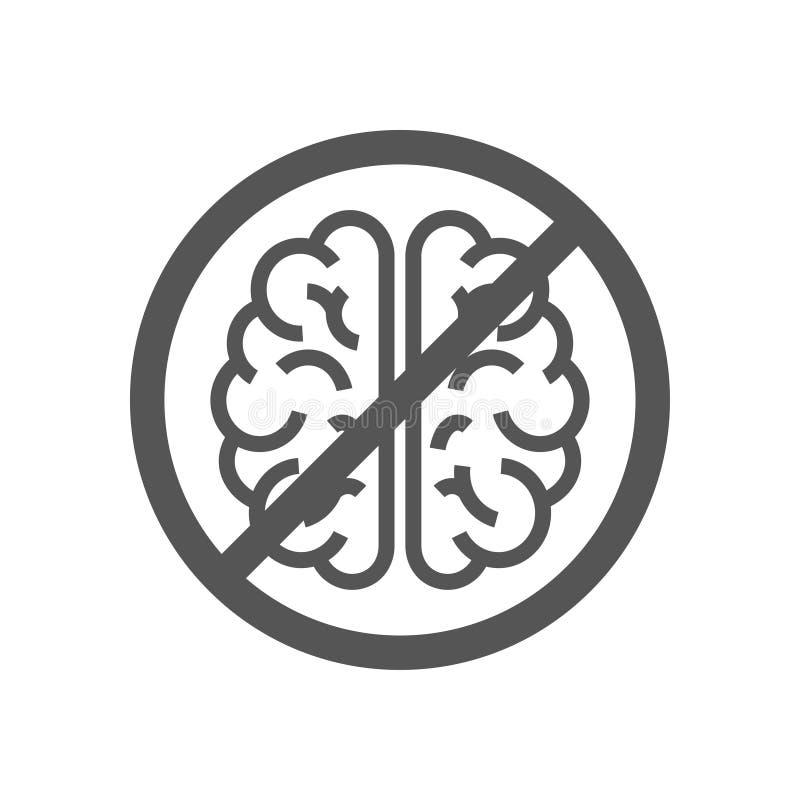 Σημάδι με τον εγκέφαλο, έννοια για να αρνηθεί τη σκέψη Εγκέφαλος καμία σκεπτόμενη απαγόρευση κατάθλιψης στασιμότητας 10 eps απεικόνιση αποθεμάτων