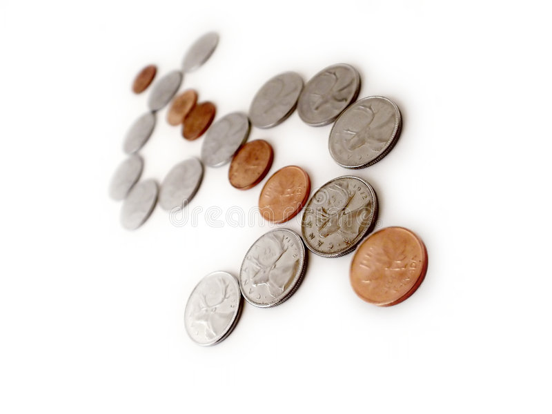 σημάδι μορφής δολαρίων νομισμάτων Στοκ Φωτογραφία