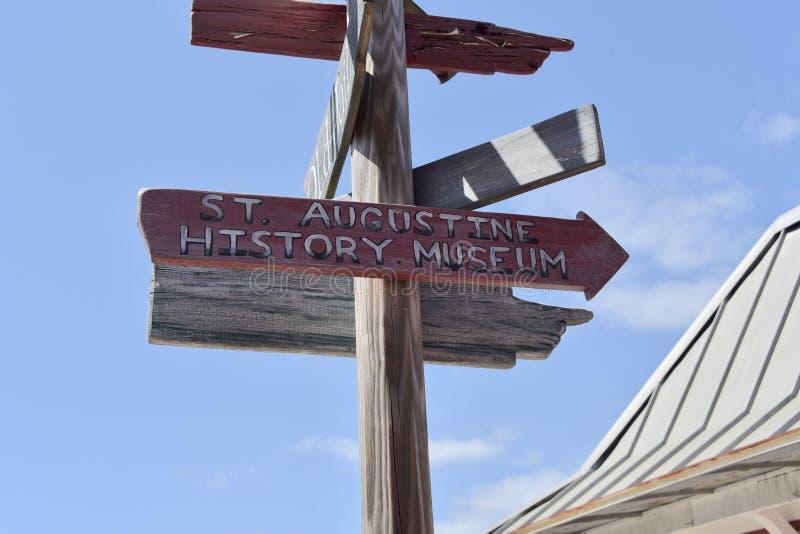 Σημάδι μουσείων ιστορίας Αγίου Augustine, ST Augustine, Φλώριδα στοκ εικόνα με δικαίωμα ελεύθερης χρήσης