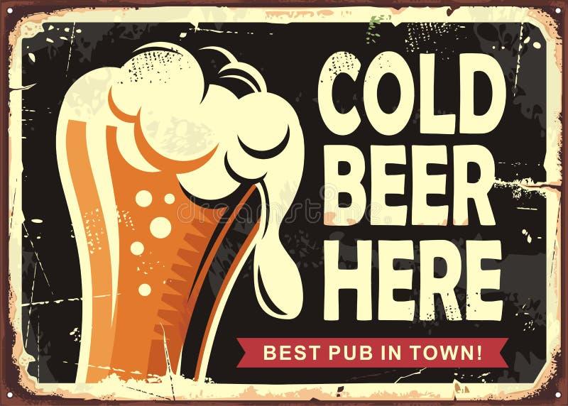 Σημάδι μπαρ με το ποτήρι της μπύρας ελεύθερη απεικόνιση δικαιώματος