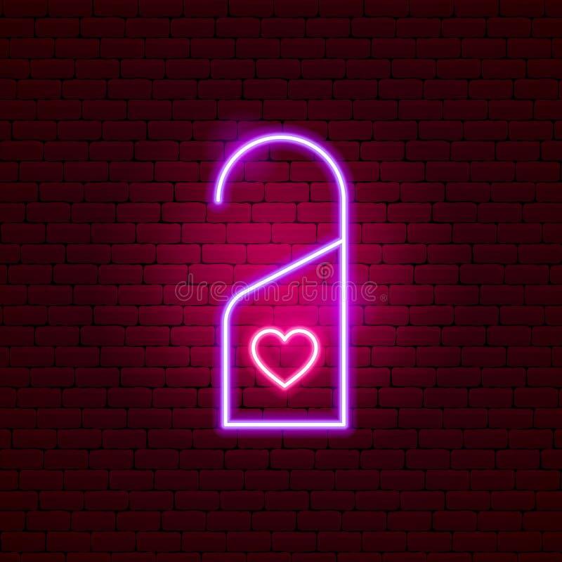Σημάδι νέου αγάπης ετικετών ξενοδοχείων διανυσματική απεικόνιση