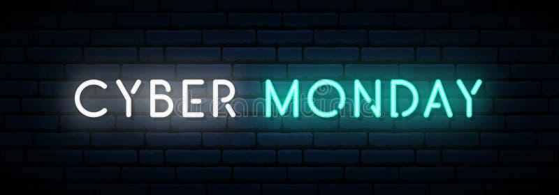 Σημάδι νέου Δευτέρας Cyber ελεύθερη απεικόνιση δικαιώματος