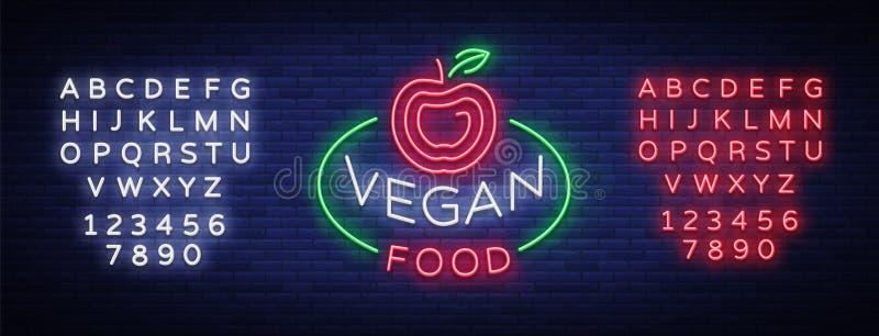 Σημάδι νέου λογότυπων Vegan, vegan σύμβολο, φωτεινό φωτεινό σημάδι, νύχτα νέου που διαφημίζει στο θέμα τα χορτοφάγα τρόφιμα, υγιή απεικόνιση αποθεμάτων