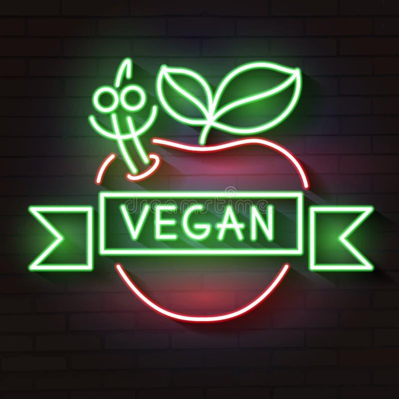 Σημάδι νέου λογότυπων Vegan, vegan σύμβολο, φωτεινό φωτεινό σημάδι, νύχτα νέου που διαφημίζει στο θέμα τα χορτοφάγα τρόφιμα, απεικόνιση αποθεμάτων