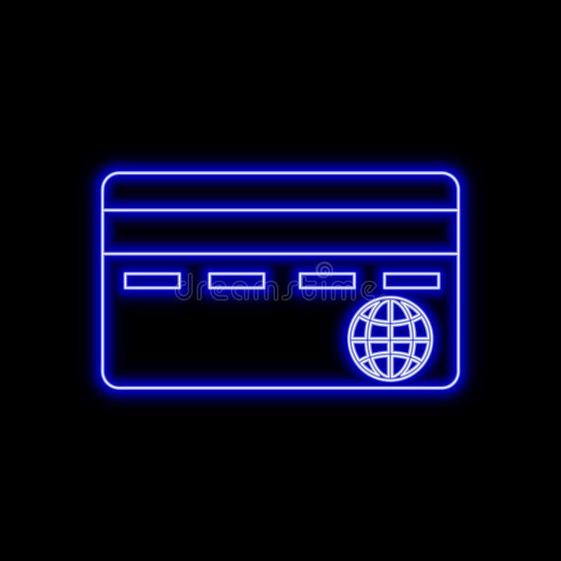 Σημάδι νέου πιστωτικών καρτών Φωτεινό καμμένος σύμβολο σε ένα μαύρο backgrou διανυσματική απεικόνιση