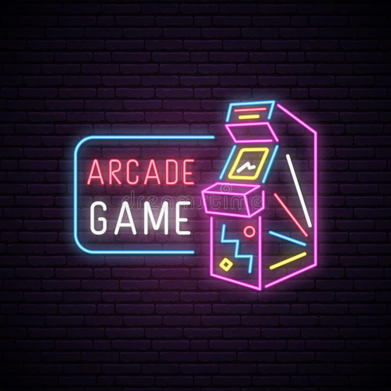 Σημάδι νέου της μηχανής παιχνιδιών Arcade ελεύθερη απεικόνιση δικαιώματος