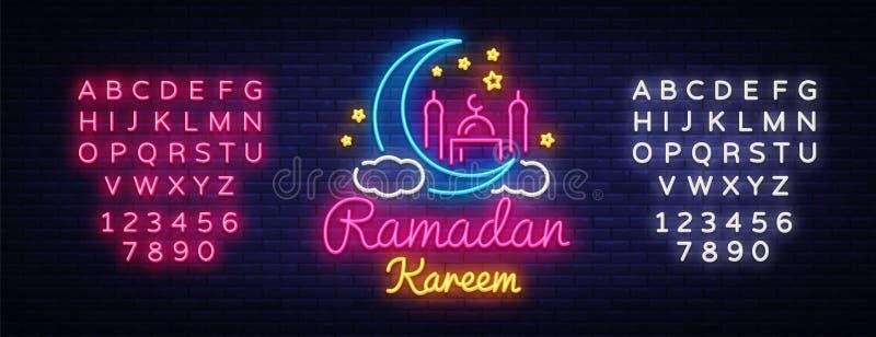 Σημάδι νέου του Kareem Ramadan Διανυσματικό έμβλημα του Kareem Ramadan στο ύφος νέου, φωτεινή πινακίδα νύχτας, εορτασμός μουσουλμ απεικόνιση αποθεμάτων