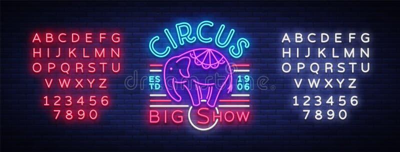 Σημάδι νέου τσίρκων Μεγάλος παρουσιάστε πρότυπο σχεδίου, ελέφαντας λογότυπων στο ύφος νέου, χαρακτήρας τσίρκων, έμβλημα νέου, φωτ ελεύθερη απεικόνιση δικαιώματος