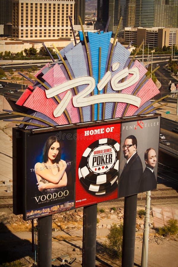 Σημάδι ξενοδοχείων του Ρίο - 'Οικία' της παγκόσμιας σειράς πόκερ στοκ φωτογραφία