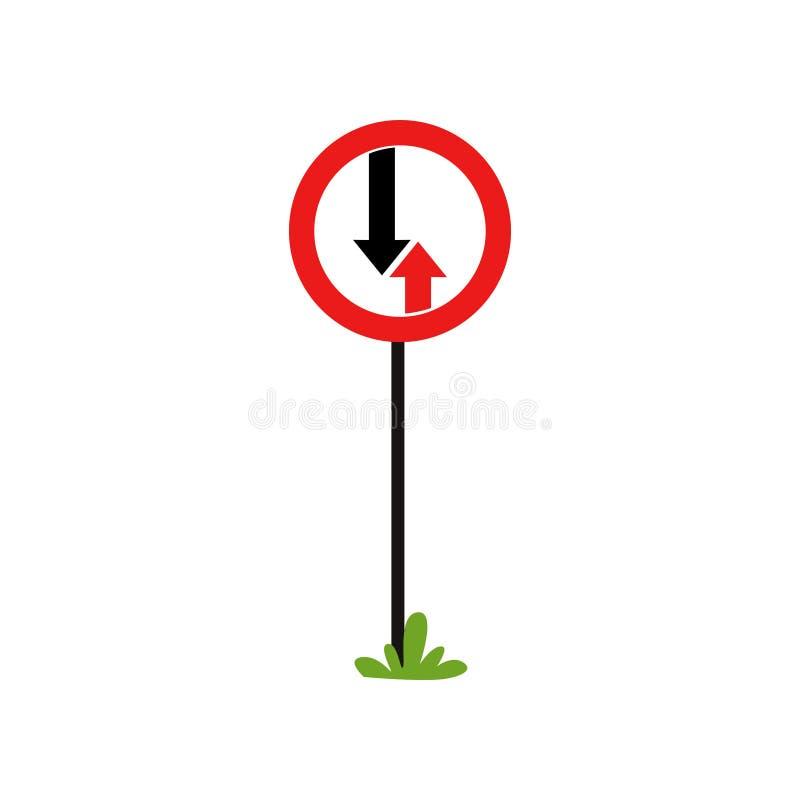 Σημάδι οδικής προτεραιότητας με το πλεονέκτημα δύο βελών της επικείμενης κυκλοφορίας Επίπεδο διανυσματικό στοιχείο για τη infogra ελεύθερη απεικόνιση δικαιώματος
