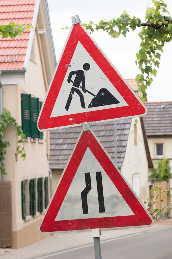 Σημάδι οδικών έργων - Γερμανία στοκ φωτογραφίες