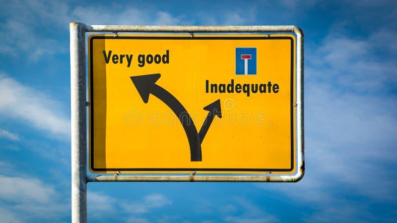 Σημάδι οδών πολύ καλός εναντίον ανεπαρκής στοκ εικόνα