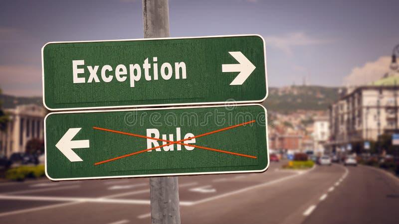 Σημάδι οδών στην εξαίρεση εναντίον του κανόνα στοκ εικόνα