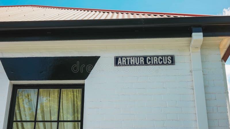 Σημάδι οδών στο τσίρκο αρθούρου στο σημείο μπαταριών, Τασμανία στοκ εικόνες