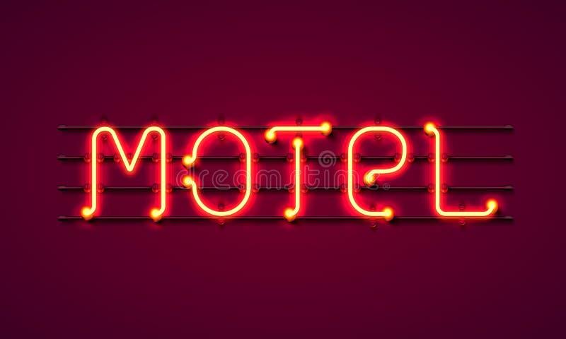 Σημάδι οδών του μοτέλ Έμβλημα μοτέλ νέου διανυσματική απεικόνιση