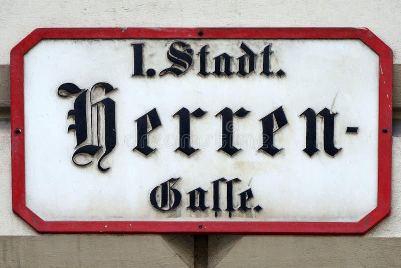 Σημάδι οδών του Herrengasse στη Βιέννη - την Αυστρία στοκ εικόνα με δικαίωμα ελεύθερης χρήσης