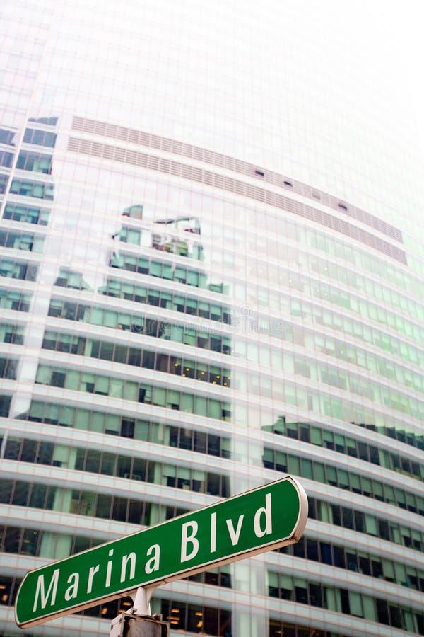Σημάδι οδών Blvd μαρινών, Σιγκαπούρη στοκ φωτογραφία με δικαίωμα ελεύθερης χρήσης